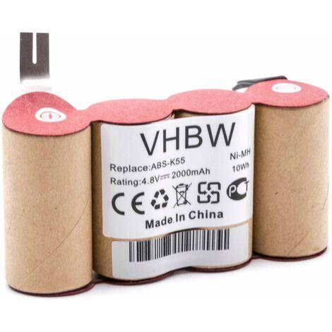vhbw NiMH batería 2000mAh (4.8V) para escoba eléctrica robot autónomo de limpieza como Kärcher ABS-K55