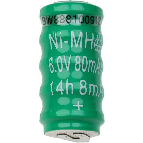 vhbw NiMH Batería de botón de repuesto (5x celdas) Tipo V80H 2 pines 80mAh 6V compatible para lámparas solares, etc.