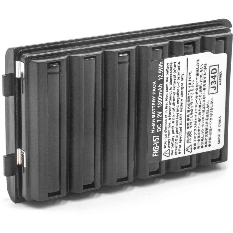 vhbw NiMH batterie 1800mAh (7.2V) pour radio talkie-walkie Standard Horizon HX270S, HX370S, HX500S, HX600S
