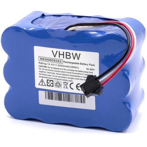 vhbw NiMH batterie 2000mAh (14.4V) pour robot aspirateur Home Cleaner robots domestiques H.Koenig SWR22