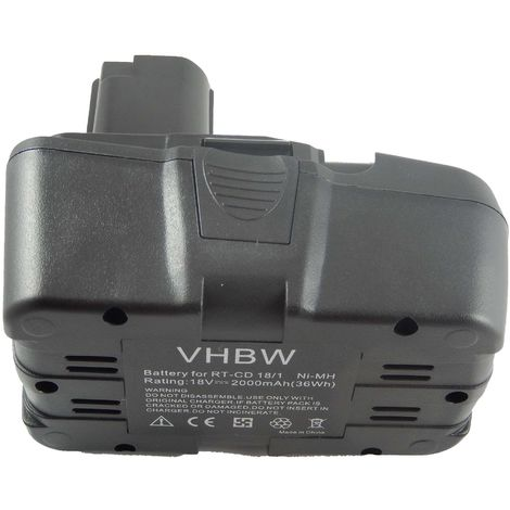 vhbw NiMH Batterie 2000mAh (18V) pour outils Einhell RT-CD18/1 comme RT-CD18/1.