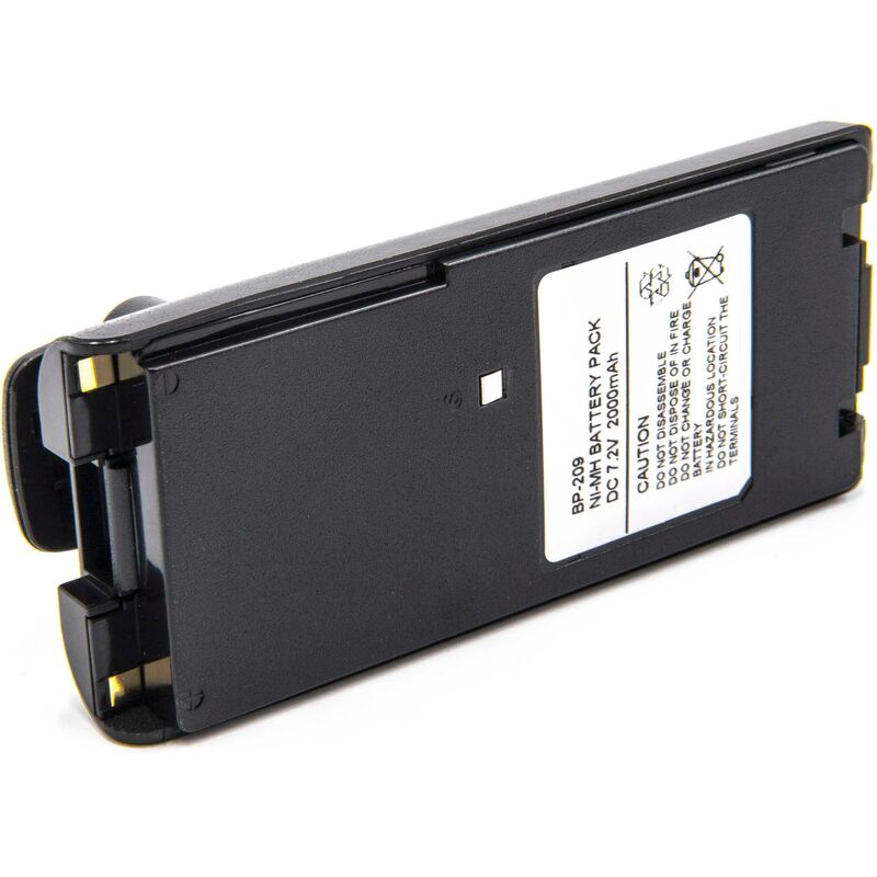 vhbw NiMH batterie 2000mAh (7.2V) pour radio talkie-walkie Icom IC-A24, IC-A24E, IC-A6, IC-A6E, IC-F11, IC-F11BR, IC-F11S, IC-F12, IC-F12S