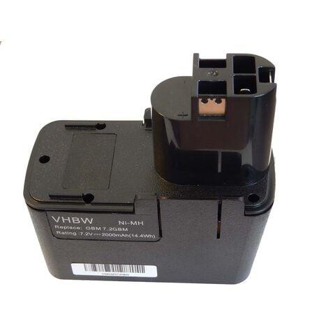 vhbw NiMH Batterie 2000mAh pour outils électriques Bosch GBM 7.2, GBM 7.2 VE-1, GBM 7.2 VES-2, GDR50, GNS 7.2V comme 2607335031, 0601936771, etc.