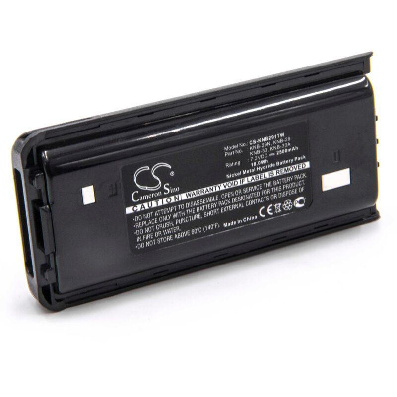 NiMH batterie 2500mAh (7.2V) pour radio talkie-walkie comme Kenwood KNB-29, KNB-29N, KNB-30, KNB-30A, KNB-53, KNB-53N - Vhbw