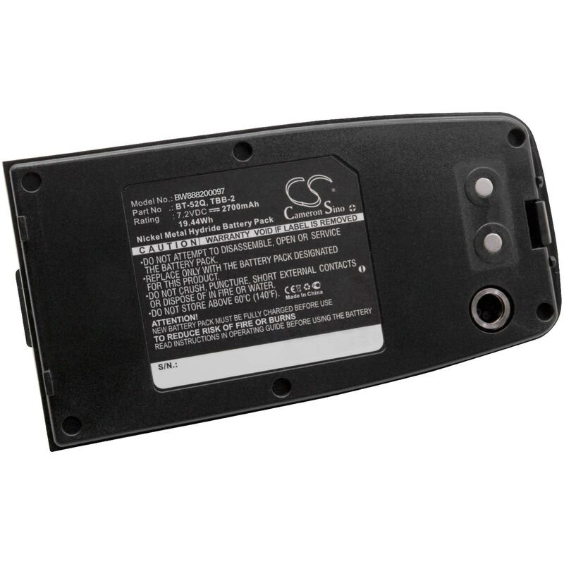 vhbw NiMH batterie 2700mAh (7.2V) pour appareil de mesure comme Topcon 51730, BT-52Q, BT-52QA, TBB-2, TBB-2R