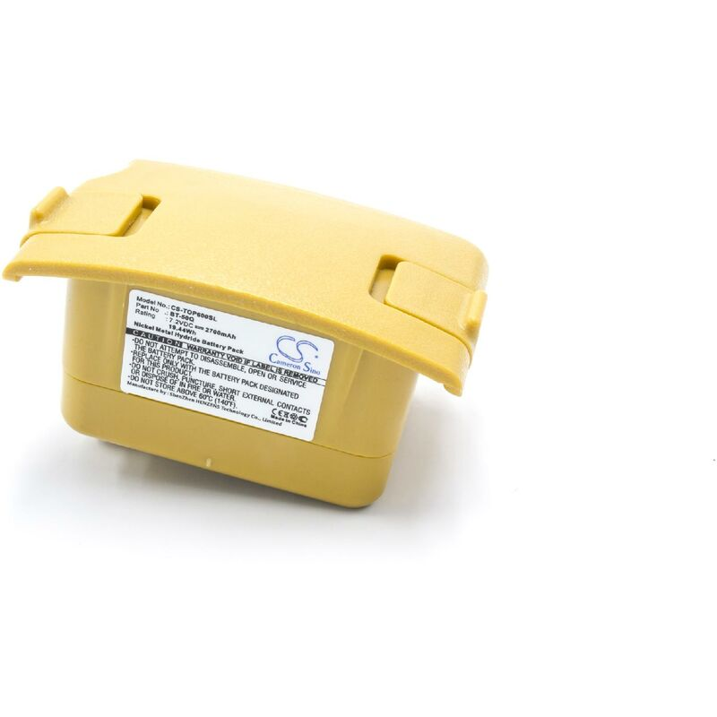 vhbw NiMH batterie 2700mAh (7.2V) pour appareil de mesure multimètre comme Topcon BT-50Q