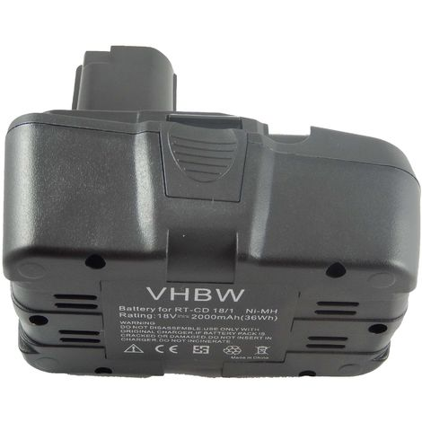 vhbw NiMH battery 2000mAh (18V) suitable for electronic tool Einhell RT-CD18/1 replaces RT-CD18/1.