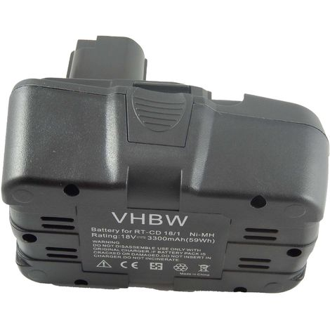 vhbw NiMH battery 3300mAh (18V) suitable for electronic tool Einhell RT-CD18/1 replaces RT-CD18/1.