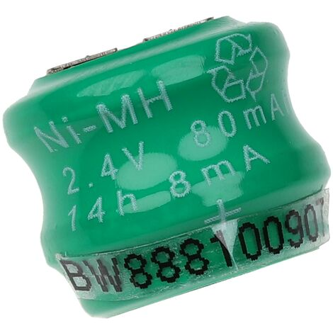 vhbw NiMH replacement button cell battery tab (2x cell) 3 pins type V80H 80mAh 2.4V suitable for model building batteries, solar lights etc.