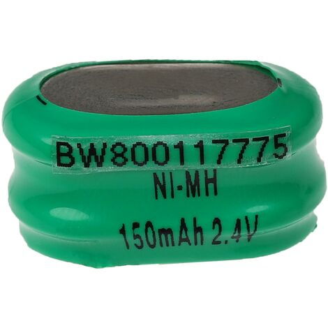 vhbw NiMH replacement button cell battery tab (2x cell) type 2/V150H 150mAh 2.4V suitable for model building batteries, solar lights etc.