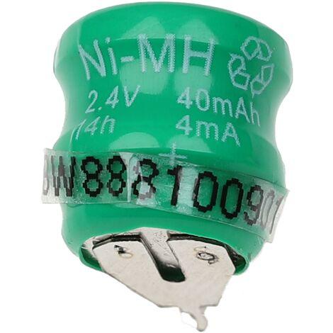vhbw Pilas botón, tipo de batería V40H (NiMH, 40mAh, 2.4V) -Columna con 2 celdas, 2 pines conexión de impresión, recargable