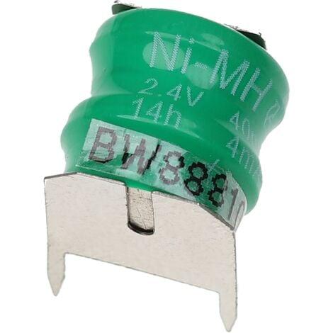 vhbw Pilas botón, tipo de batería V40H (NiMH, 40mAh, 2.4V) -Columna con 2 celdas, 3 pines conexión de impresión, recargable