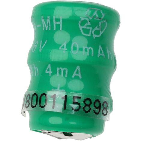 vhbw Pilas botón, tipo de batería V40H (NiMH, 40mAh, 3.6V) -Columna con 3 celdas, 2 pines conexión de impresión, recargable