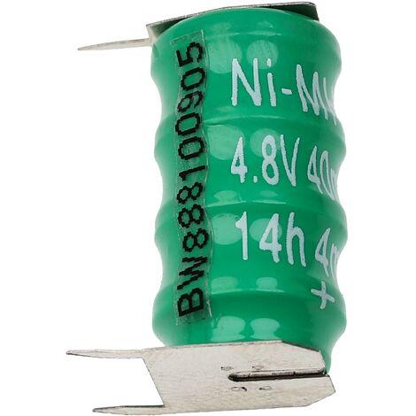 vhbw Pilas botón, tipo de batería V40H (NiMH, 40mAh, 4.8V) -Columna con 4 celdas, 3 pines conexión de impresión, recargable