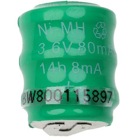 vhbw Pilas botón, tipo de batería V80H (NiMH, 80mAh, 3.6V) -Columna con 3 celdas, 2 pines conexión de impresión, recargable