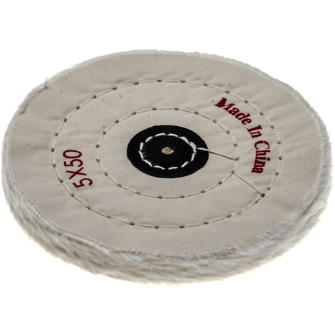 vhbw Polishing Pad for all Standard Angle Grinders, Screwdrivers - Spare Pad with 12.5cm Diameter, cream, cotton