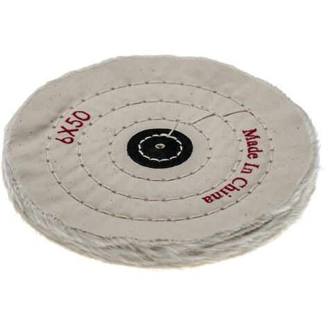 vhbw Polishing Pad for all Standard Angle Grinders, Screwdrivers - Spare Pad with 15.5cm Diameter, cream, cotton