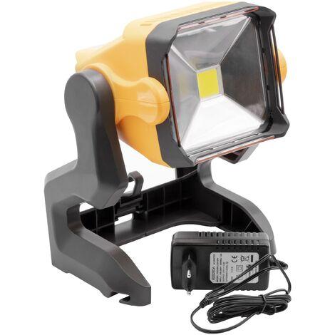 vhbw Projecteur de construction LED Lampe de chantier à piles Recargable 20W, 2800lm avec câble électrique