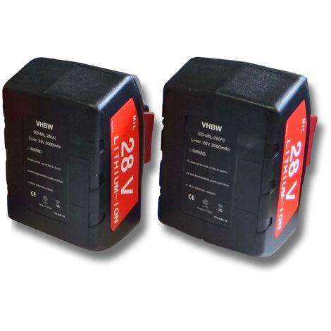 vhbw Set 2x baterías Li-Ion 2000mAh (28V) para herramientas Milwaukee V28 CS sierra circular a batería, etc. y 48-11-1830, 48-11-2830, 48-11-2850.