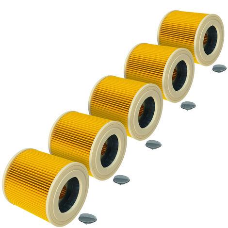 vhbw® Set de 5x Filtros de cartucho repuesto reemplaza Kärcher 6.414-552.0 para aspiradoras mojado - seco, aspiradora multiusos de Kärcher