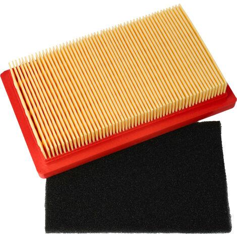 vhbw Set de filtres à air de rechange papier et mousse compatible avec Bolens OHV 400, 500, 600 tondeuse à gazon, 14,5x 8,5 x 2,8cm