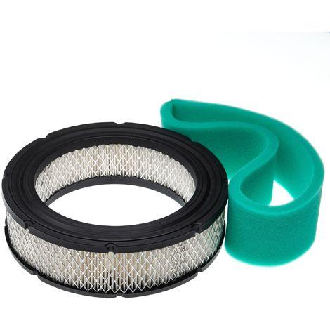 vhbw Set de filtres (filtre à air en papier, filtre mousse) compatible avec Briggs & Stratton Vanguard 542477-0116-E1 moteur pour tracteur tondeuse