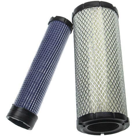 vhbw Set filtro compatible con Kawasaki FH770D, FX1000V, FX651V, FX691V, FX730V motor máquina construc. - 1x filtro interno, 1x filtro externo