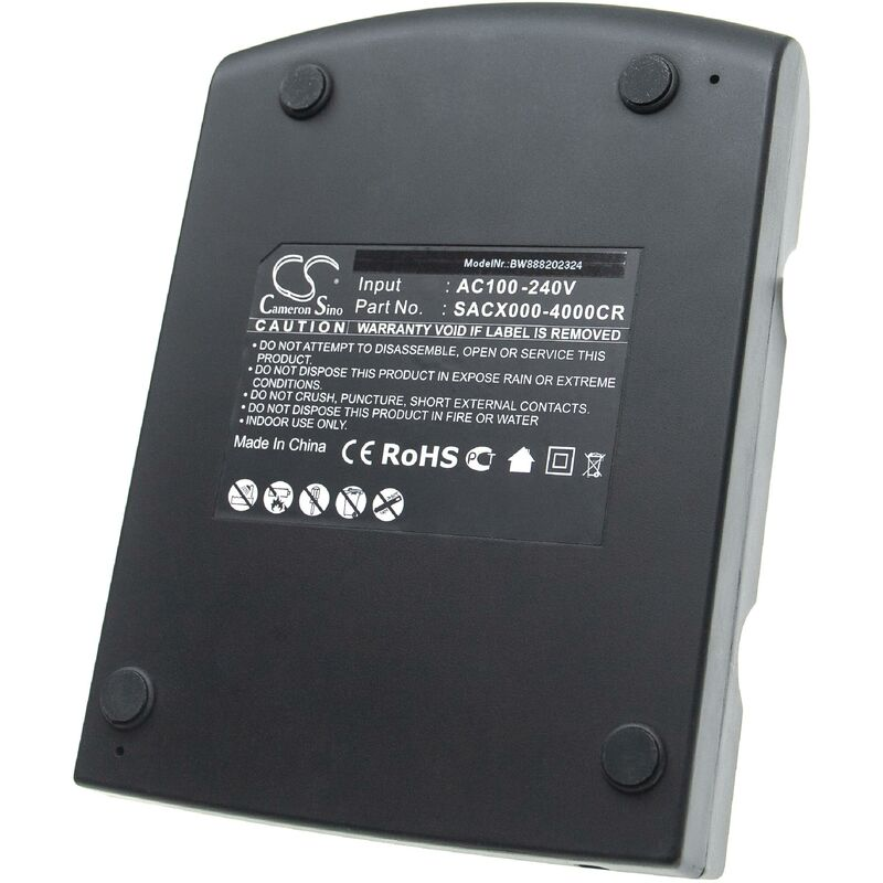 vhbw Station de chargement 4 bornes compatible avec Symbol MC3090R-LC38S00G, MC3090R-LC48S00MER ordinateur mobile, scanner de code-barre - noir