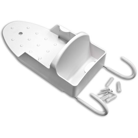 vhbw Wall Mounted Holder with Hooks for Ironing Board, Steam Iron white - Strong, Practical, Space-Saving Storage Rack