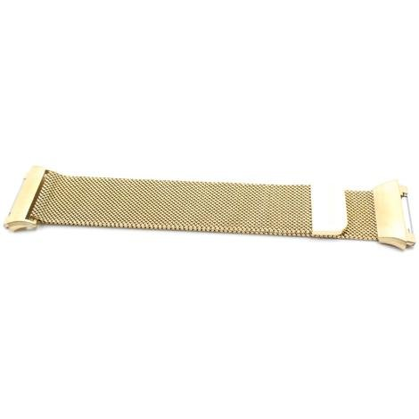 vhbw wristband 23.5cm compatible with Fitbit Ionic Smart Watch - stainless steel gold magnetic closure
