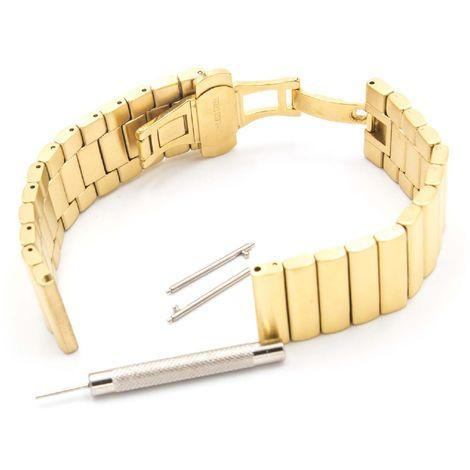 vhbw wristband compatible with Motorola Moto 360 2nd Generation, 46mm Men Smart Watch - 22mm stainless steel gold