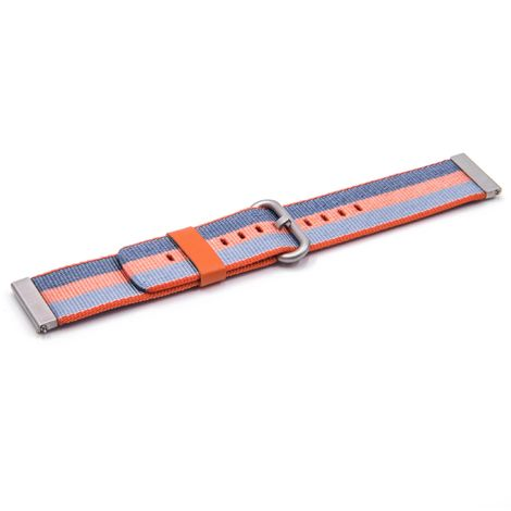 vhbw wristband compatible with Pebble 2 Watch, Time, Time Steel, Watch Smart Watch - 12.3cm + 8.5cm nylon blue / orange