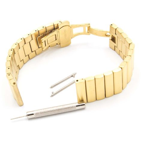 vhbw wristband compatible with Pebble 2 Watch, Time, Time Steel, Watch Smart Watch - 22mm stainless steel gold