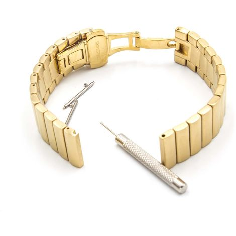 vhbw wristband compatible with Pebble Time Round 20mm, Large Smart Watch - 17,5cm stainless steel gold