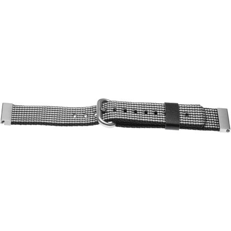vhbw wristband compatible with Pebble Time Round Smart Watch - 10.7cm + 8.3cm nylon grey / black / white