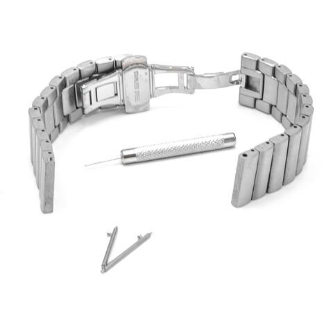 vhbw Wristband compatible with Pebble Time Round Smart Watch - 16.3cm stainless steel silver