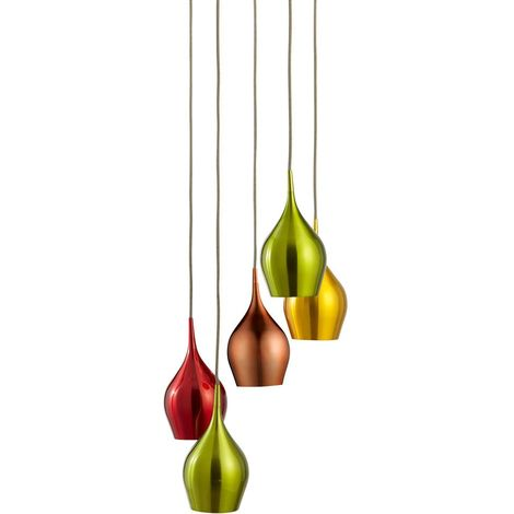 Vibrant 5 Light Multi-drop Pendant With Multi-coloured Shades