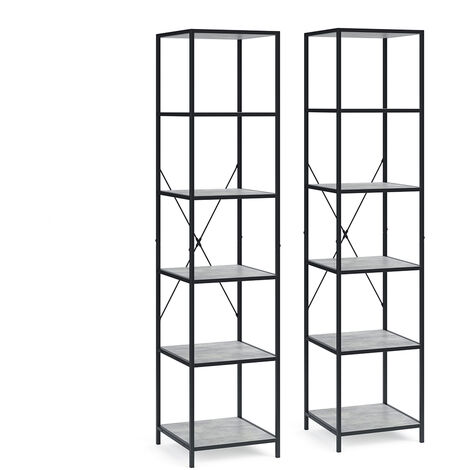 VICCO Loft Standregal Fyrk 2er Set Bücherregal Wandregal Holz Regal 174x40x40 cm