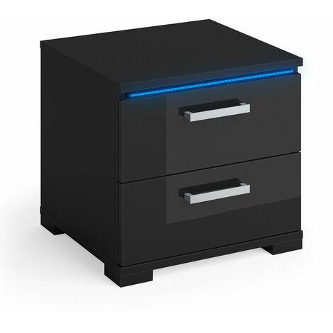 Vicco Nachtschrank PICOT schwarz HGL LED Nachttisch Kommode Schrank Schlafzimmer