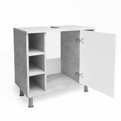 VICCO Waschbeckenunterschrank FYNN Weiß Grau - Badmöbel Badschrank Unterschrank