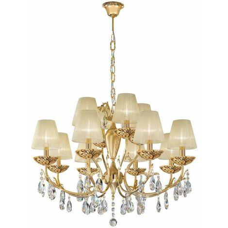 VICTORIA 2 crystal chandelier 24k Gold 12 bulbs Albero Multi