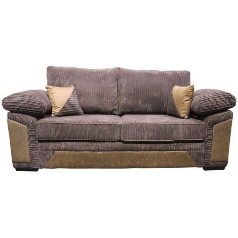 Victoria 3 Seater Sofa Settee Jumbo Cord Chocolate Fabric Suite