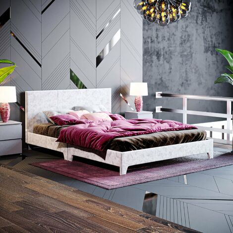 Victoria Double Bed, Silver Velvet