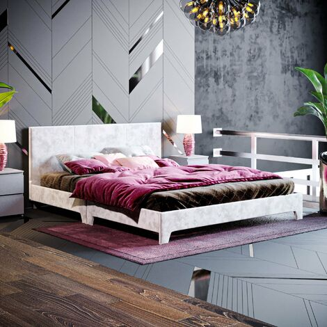 Victoria King Size Bed, Silver Velvet
