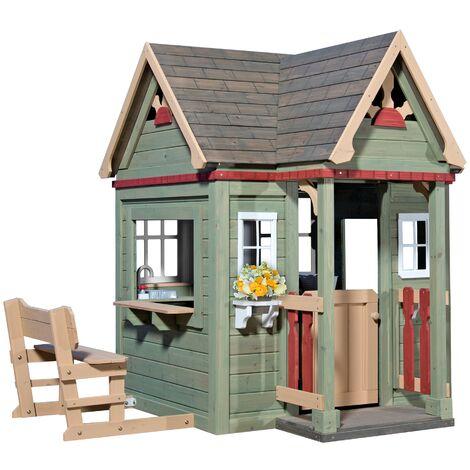 Victorian Inn Playhouse: Maisonnette pour enfants, fenêtres intégrées et bois très résistant