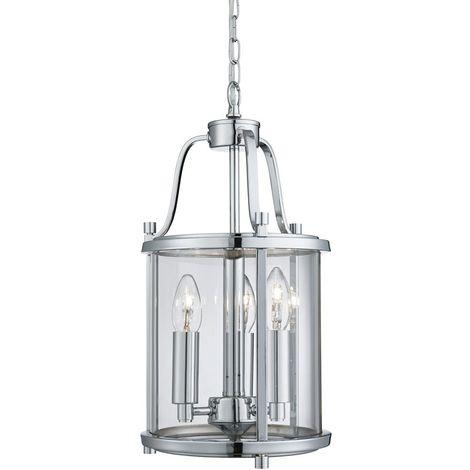 VICTORIAN LANTERN, 3 LIGHT CHROME, CLEAR GLASS