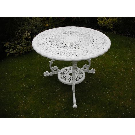 Victorian Round Table British Made, High Quality Cast Aluminium Garden Furniture