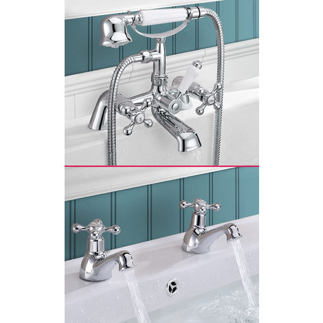 VICTORIAN TAP SET - BASIN TAPS & BATH SHOWER MIXER