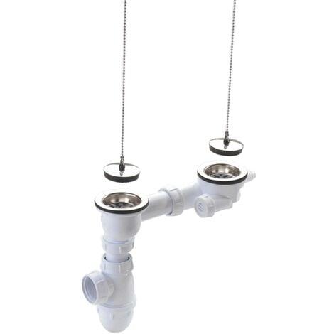 Vidage complet évier grès/synthèse 2 cuves avec siphon sans trop-plein Ø84 - percage 60mm