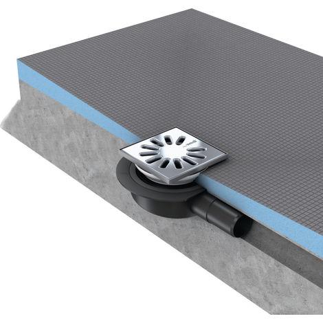 Vidage Wedi Fundo écoulement 1 point horizontal extra plat MiniMax DN40 grille carrée